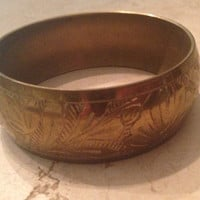 Vintage Brass Bracelet Engraved Boho Bangle Jewelry