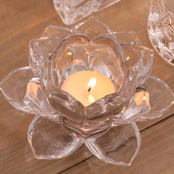 Home Decor Handmade Crystal Lotus Flower Candle Holders