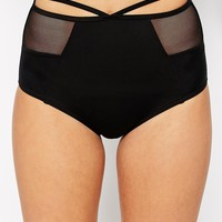 New Look Mesh Strapping High Waist Bikini Bottom