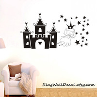 princess castle stars wall sticker nursery wall decals kids wall decals baby girls  X011