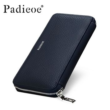 Genuine Leather Mens Wallet Leather Zipper Long Wallets Man Business Male Purses Casual Cow Leather Small Card Wallet