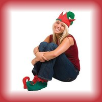 Santa's Helpers Elf Elves Shoes & Hat Costume Accessory Set [Toy]