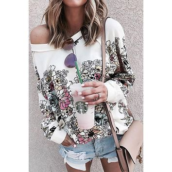 White Free People Go on Floral Printed Pullover Sweatshirt