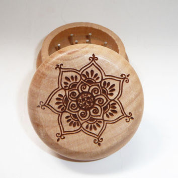 Oak Wood burned herb grinder  / Mandala Lotus Flower