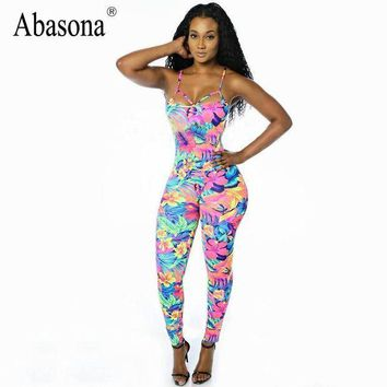 PEAPGC3 Rompers Womens Jumpsuit stretchy tropical floral print bodycon Jumpsuits and Rompers straps backless Overalls for women