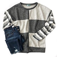 Checkered Charcoal and Striped Top