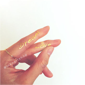 Dream & Love Metallic Gold Silver Jewel Flash Tattoo  - InknArt Temporary Tattoo - wrist quote body sticker fake wedding