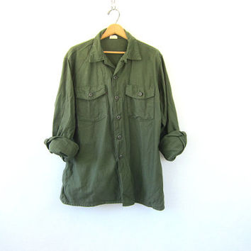 Vintage men's army shirt. Military jacket. Button up army shirt. Army green shirt jacket. Grunge Punk Hipster Fall Coat Jacket.