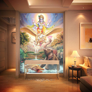 "Large mural ~ Hindu God ""KRISHNA"" wallpaper"