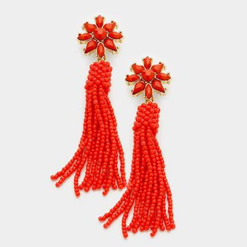 "3"" red seed bead  tassel fringe boho earrings"