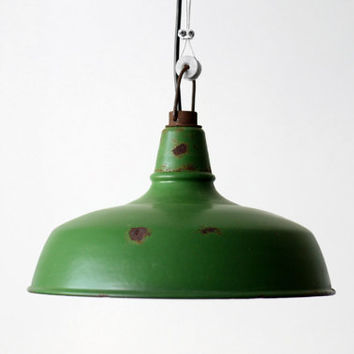 French Industrial Enamel Pendant Lamp Shade // Olive Green Light Lampshade // Bauhaus Merchant Machinist Workshop Lighting - 50s