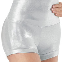 Plus Size Adult Silver Metallic Shorts Rave Booty Shorts High Waist Cheer Shorts Nylon Lycra Shiny Dance Shorts