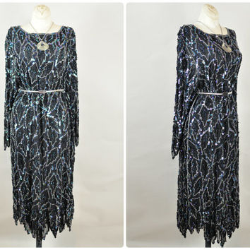 indigo iridescent sequin beaded silk india scalloped fringe maxi caftan dress vintage 1980s art deco flapper