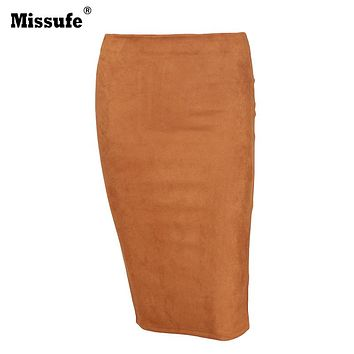 Missufe 2017 Bodycon Pencil Skirt Side Zipper Sheath Autumn Winter Women Skirt Split Suede Leather Skirts For Women Faldas Mujer