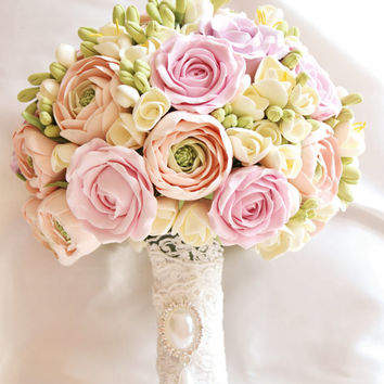 Bridal bouquet, Wedding Alternative bouquet, Ranunculus roses bouquet, Shebby chic, gentle pastel color bouquet Realistic flowers
