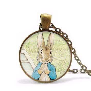 Alice in Wonderland Necklace Steampunk Bunny Necklace Peter Rabbit Jewelry Glass Dome Pendant Necklace gift men women chain
