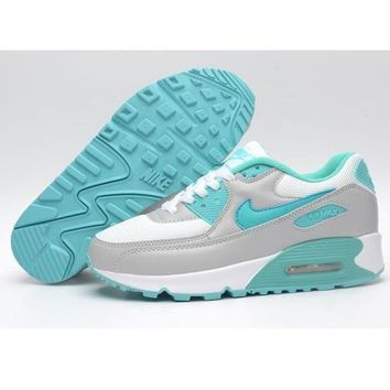 NIKE AIR MAX 90 fashion ladies men running sports shoes sneakers F-PS-XSDZBSH Lake blue + gray + white