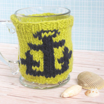 Hand Knit Coffee Mug Cozy with Anchor / Nautical Theme Gift Idea / Nautical Home Decor / Beach Decor / Beach Lover Ideas / Green Coffee Cozy