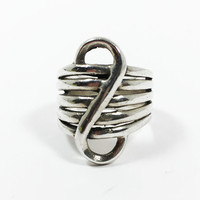 Sterling Silver Modernist Ring Wide Infinity Style Minimalist Signed 925 Unisex For Him or Her Artisan Design Gift Idea