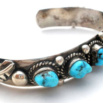 Hand Wrought Sterling Silver Turquoise Cuff Bracelet Vintage