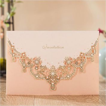 2017 gold wedding invitations elegant pink lace invitations for princess birthday evening party invites with envelope 25pcs