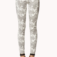Abstract Floral Print Skinny Jeans | FOREVER 21 - 2076591135
