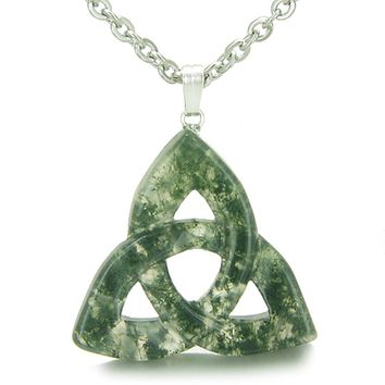 Celtic Triquetra Knot Magic Amulet Green Moss Agate Good Luck Powers Pendant 22 Inch Necklace