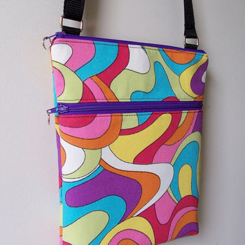 Mod Multi-Color Bright Groovy Small Zipper Hipster/Shoulder/Crossbody Bag/Purse/Nook/Kindle/I Pad Mini/E-Reader Holder