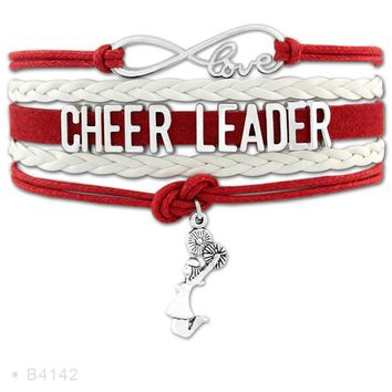 Infinity Love Cheerleader Megaphone Cheer Coaches Mom Nana Charms Bracelets