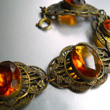 Czech Amber Glass Bracelet, Link Brass, Open Back Vintage-Antique