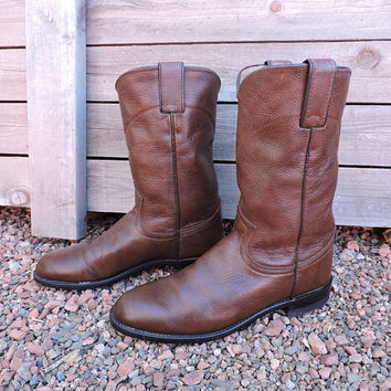 Justin boots / mens 6 B womens  8 /  vintage brown Justin roper  boots / brown cowboy boots