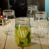 Personalized Mason Jar Drinking Glasses, Set of 4
