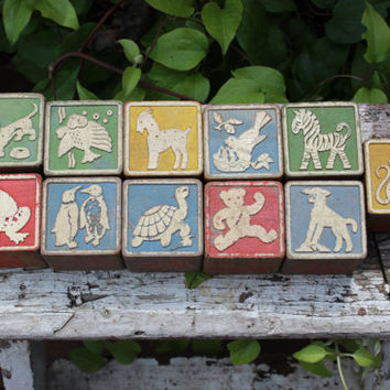 11 vintage ABC wooden blocks, vintage wooden children's blocks, vintage educational toys, wooden alphabet blocks, 1940 children's wood toys