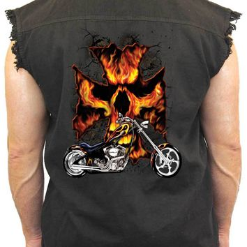 Men's Sleeveless Denim Shirt Motorcycle Flames Skull Cross Biker