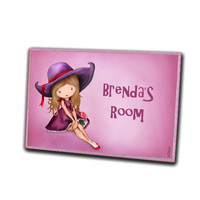 Personalized pink purple girls door hanger sign plaque