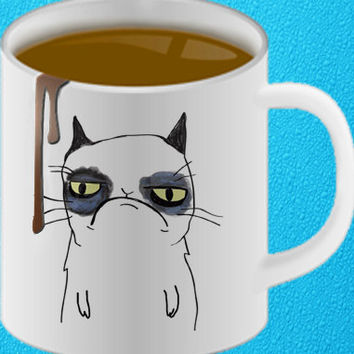 grumpy cat cute mug coffee, mug tea, size 8,2 x 9,5 cm heppy coffee.