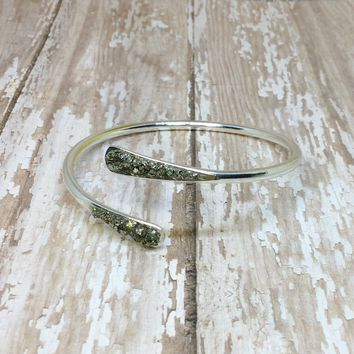 Crushed Raw Pyrite Bangle Cuff Bracelet Silver Plated