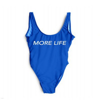 MORE LIFE One Piece Letter Backless Bathing Suit