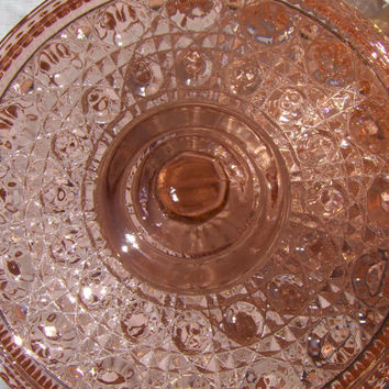 Vintage Pink Windsor Federal Glass Candy Dish Covered Lidded