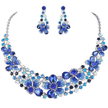EVER FAITH® Silver-Tone Austrian Crystal Hibiscus Flower Necklace Earrings Set Blue Sapphire-color
