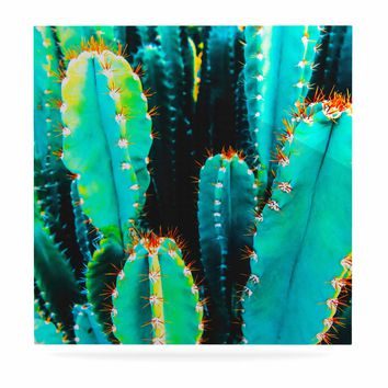 """mmartabc """"Desert Cactus Colorful"""" Blue Green Nature Travel Photography Painting Luxe Square Panel"""