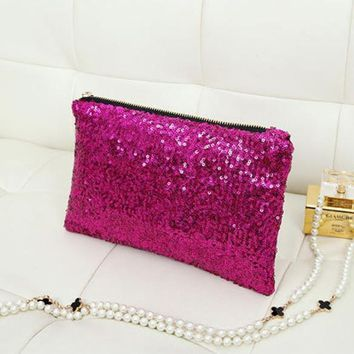 New Fashion New Fashion Style Women's Sparkle Spangle Clutch Evening Bag