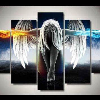 5 Pieces/set Angeles Girls Anime Demons Canvas Painting Children'S Room Decoration Print Canvas Pictures Frameless