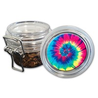 Airtight Stash Jar with Silicone Seal - Peace, Love and Tie Dye #3 - Food-Grade Plastic with Locking Wire Top - Smell Proof Hermes Container