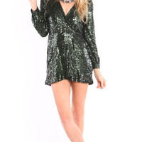 LONG SLEEVE SEQUIN WRAP DRESS - HUNTER GREEN