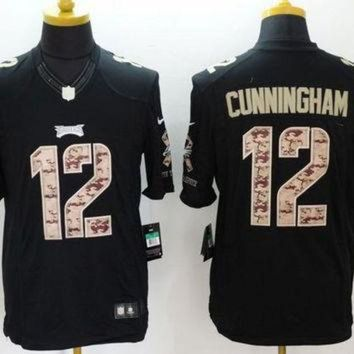 PEAPYD9 Nike Eagles #12 Randall Cunningham Black Men's Stitched NFL Limited Salute to Service