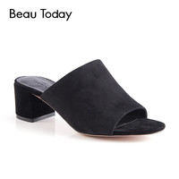 BeauToday Genuine Leather Mules Shoes Women Fashion Summer Kid Suede Peep Toe Square Heel Party Casual Pumps 35013