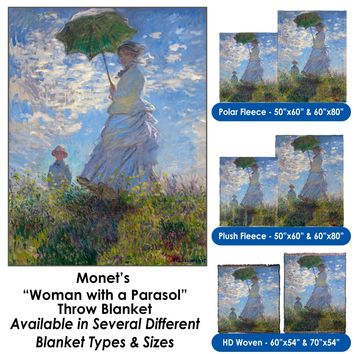 """Claude Monet's """"Woman with a Parasol - Madame Monet and Her Son"""" Throw Blanket / Tapestry Wall Hanging"""