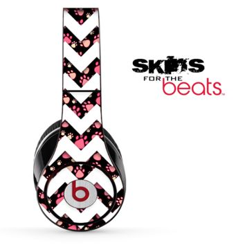 Tiny Paw Print and White Chevron Pattern Skin for the Beats by Dre Solo, Studio, Wireless, Pro or Mixr