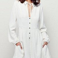 White Tied Front Keyhole Detail Button Front Shirt Dress
